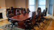 12 Foot Boat Shaped Conference Table with Chairs, OHIO